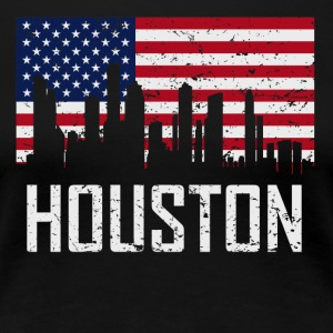 Houston Texas Skyline American Flag Distressed - Women's Premium T-Shirt