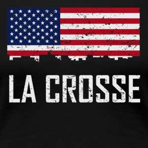 La Crosse Wisconsin Skyline American Flag - Women's Premium T-Shirt