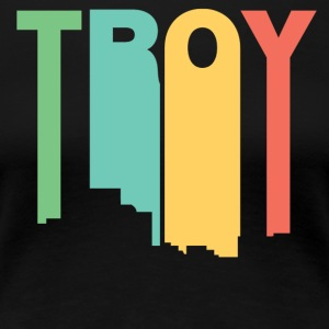 Retro 1970's Style Troy Michigan Skyline - Women's Premium T-Shirt