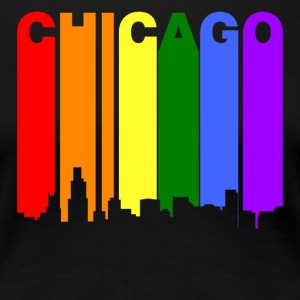 Chicago Illinois Gay Pride Rainbow Skyline - Women's Premium T-Shirt