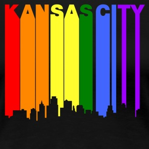 Kansas City Kansas Gay Pride Rainbow Skyline - Women's Premium T-Shirt