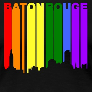 Baton Rouge Louisiana Gay Pride Rainbow Skyline - Women's Premium T-Shirt