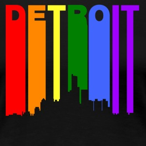 Detroit Michigan Gay Pride Rainbow Skyline - Women's Premium T-Shirt