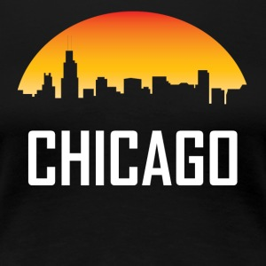 Chicago Illinois Sunset Skyline - Women's Premium T-Shirt