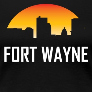 Fort Wayne Indiana Sunset Skyline - Women's Premium T-Shirt