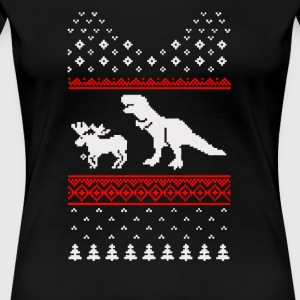 T-Rex Attack Moose Ugly Funny Christmas Dino - Women's Premium T-Shirt