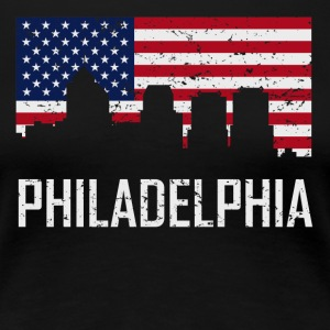 Philadelphia Pennsylvania Skyline American Flag - Women's Premium T-Shirt