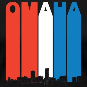 Red White And Blue Omaha Nebraska Skyline - Women's Premium T-Shirt