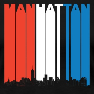Red White And Blue Manhattan New York Skyline - Women's Premium T-Shirt