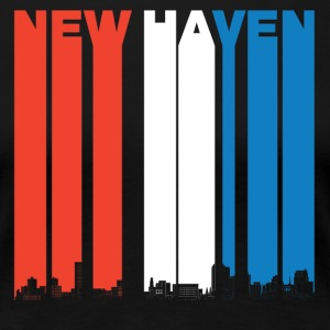 Red White And Blue New Haven Connecticut Skyline - Women's Premium T-Shirt