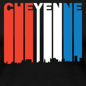 Red White And Blue Cheyenne Wyoming Skyline - Women's Premium T-Shirt