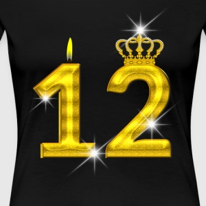 12 - Birthday - Golden Number - Crown - Flame - Women's Premium T-Shirt