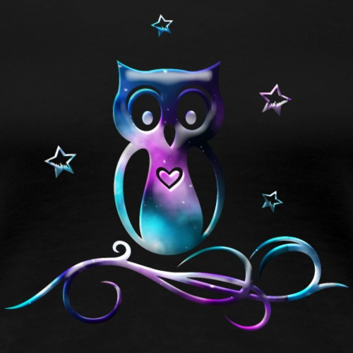 Galaxy owl with stars, heart and tribal - Women's Premium T-Shirt