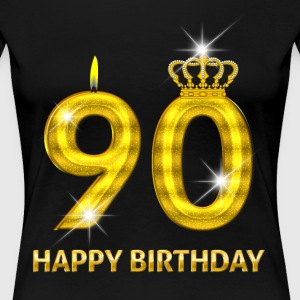 90 - Happy Birthday - Golden Number - Women's Premium T-Shirt