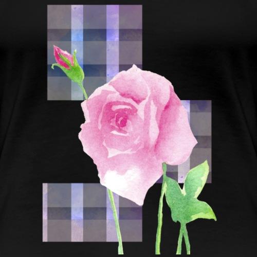 Rose's Grid in Watercolor - Women's Premium T-Shirt