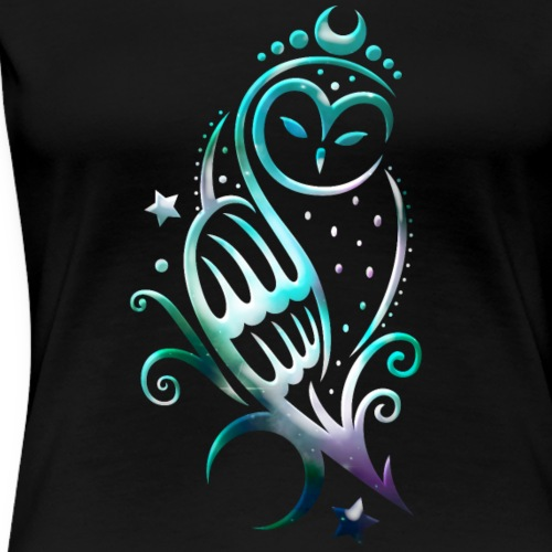 Moon owl with stars, tribal art - Women's Premium T-Shirt
