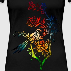 Colorful bird on Tree bough - Women's Premium T-Shirt