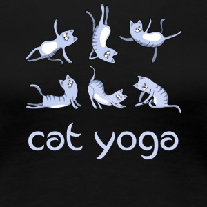 yoga Cat blue kitty gym Humor cute LOL exercise lo - Women's Premium T-Shirt