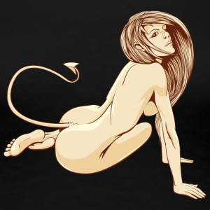 sitting_nude_devil_girl_tail - Women's Premium T-Shirt