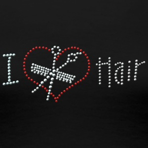 I Love Hair Rhinestone - Women's Premium T-Shirt