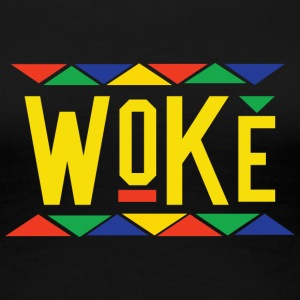 Woke - Tribal Design (Yellow Letters) - Women's Premium T-Shirt