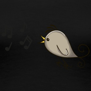 bird singing music notes romantic - Women's Premium T-Shirt