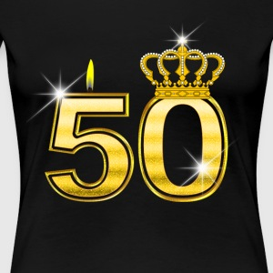 50 - Birthday - Queen - Gold - Flame & Crown - Women's Premium T-Shirt