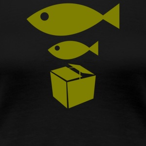 Big Fish Little Fish Cardboard Box - Women's Premium T-Shirt