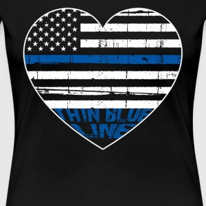 POLICE THIN BLUE LINE HEARTBEAT - Women's Premium T-Shirt