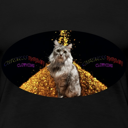 Majestic Kitty On A Bed Of Gold - Women's Premium T-Shirt