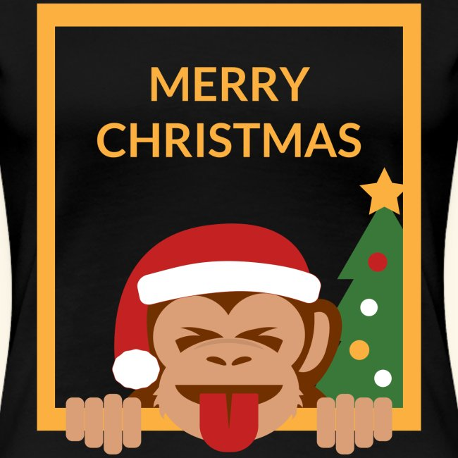 Merry Christmas Santa Monkey Tongue and Closed Eye