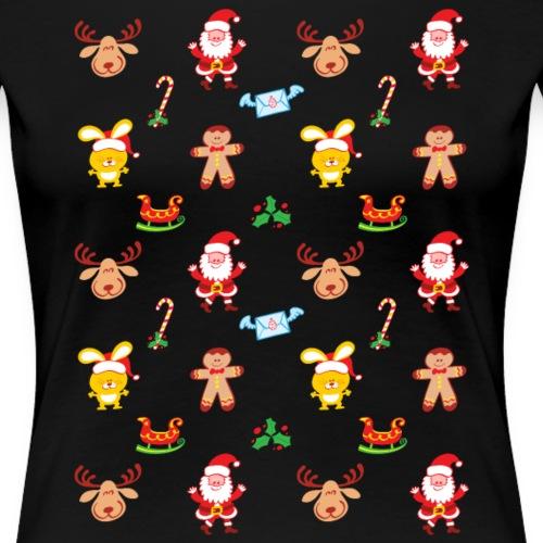 Santa, reindeer, bunny and cookie man Xmas pattern - Women's Premium T-Shirt