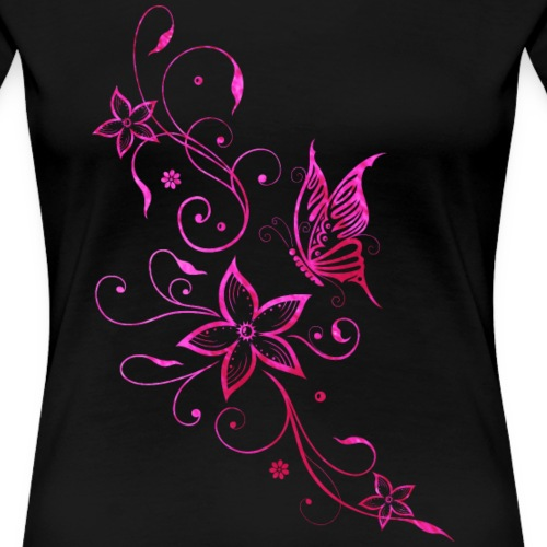 Tendril, Flowers with Butterfly. Pink Watercolor. - Women's Premium T-Shirt