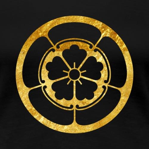 Oda Mon Japanese samurai clan gold texture - Women's Premium T-Shirt