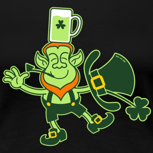Leprechaun Balancing a Glass of Beer on his Head - Women's Premium T-Shirt