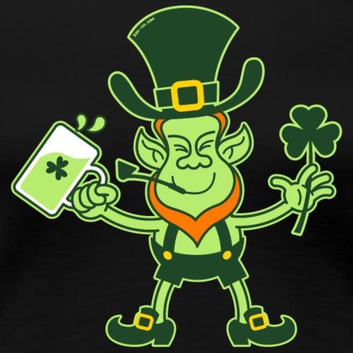 Leprechaun Drinking a Toast for St Patrick - Women's Premium T-Shirt