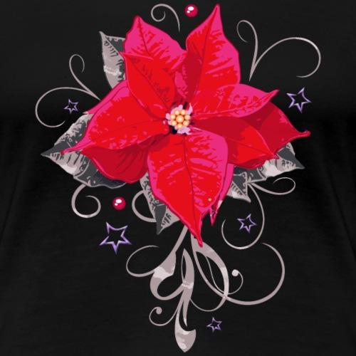 Poinsettia. Christmas Flower with Stars. Watercolo - Women's Premium T-Shirt