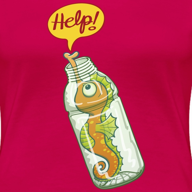 Seahorse trapped in plastic bottle asking for help