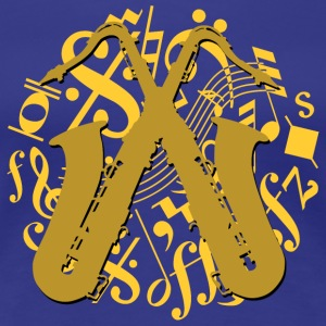 golden saxophones on music notes - Women's Premium T-Shirt