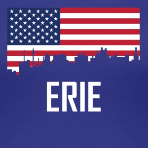 Erie Pennsylvania Skyline American Flag - Women's Premium T-Shirt