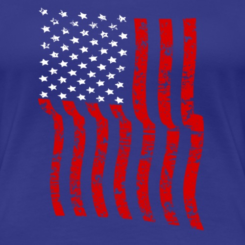 Vintage Waving USA Flag Patriotic T-Shirts Design - Women's Premium T-Shirt