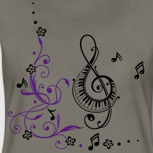 Clef with music notes and flowers - Women's Premium T-Shirt