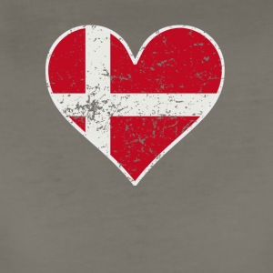 Distressed Danish Flag Heart - Women's Premium T-Shirt