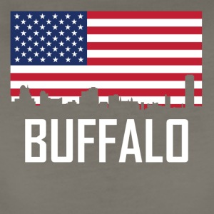 Buffalo New York Skyline American Flag - Women's Premium T-Shirt