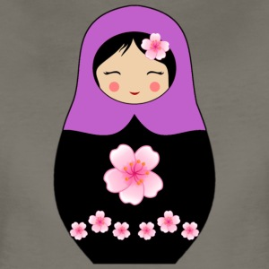 Purple Matryoshka doll with flowers - Women's Premium T-Shirt