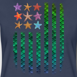 American Mermaid Flag Starfish & Stripes - Women's Premium T-Shirt