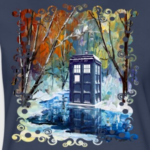 Snowy Blue Phone Booth - Women's Premium T-Shirt