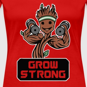 Groot Grow Strong Galaxy Gym Fitness Mashup - Women's Premium T-Shirt