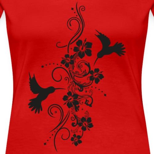 Hummingbirds with hibiscus and filigree tendril - Women's Premium T-Shirt