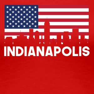 Indianapolis IN American Flag Skyline - Women's Premium T-Shirt